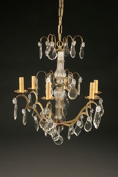 19th century French 6 arm bronze and crystal antique chandelier. Circa 1890. #antique #chandelier #bronze #crystal