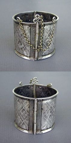 Africa   Silver hammered and chased hinged bracelets from Aurès, Algeria