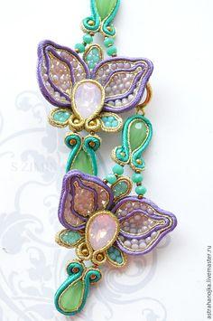 Купить Серьги Орхидеи - сиреневый, сутажные украшения, сутажные серьги, серьги со сваровски
