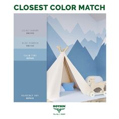 Is it possible to feel like you're close to nature even if you are indoors? Take it from this breezy children's room featuring its very own snow-capped mountains! Matching Paint Colors, Paint Colors For Home, House Colors, Paint Color Palettes, Blue Colour Palette, Room Wall Colors, Bedroom Colors, Blue Bedroom Walls, Condo Living