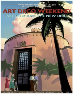 2005 Art Deco Weekend Poster.. MY FAVORITE ART DECO  WEEKEND POSTER