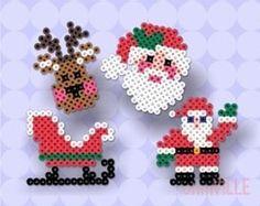 Perler Beads ~ Hama Beads, Fuse Beads ~ Create Just About… Christmas designs, birds, pac man ghost, etc. Hama Beads Design, Diy Perler Beads, Hama Beads Patterns, Perler Bead Art, Beading Patterns, Christmas Perler Beads, Christmas Ornaments, Christmas Icons, Christmas Stuff