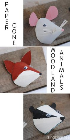 Adorable paper cone woodland animal craft - Mouse, Fox, Badger