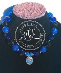 Think Blue Line Police Rhinestone Necklace by AliceLeePrincess