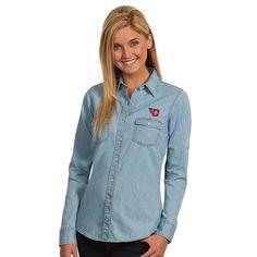 Dayton Flyers Antigua Women's Chambray Long Sleeve Button-Up Shirt - Light Blue - $57.99