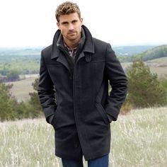 Jeno Neuman® Men's Wool-Blend Car Coat With Scarf