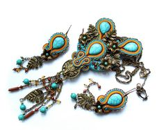 Soutache earrings   bold and unusual Winterfell by rododendron7, $49.00
