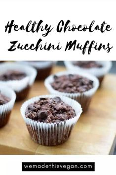 These healthy chocolate zucchini muffins are moist, delicious and chocolatey and they make the perfect healthy lunchtime or after school snack - and still seem like a treat! Healthy Vegan Desserts, Vegan Dessert Recipes, Healthy Chocolate, Donut Recipes, Delicious Recipes, Healthy Snacks, Yummy Food, Chocolate Zucchini Muffins, Healthy Blueberry Muffins