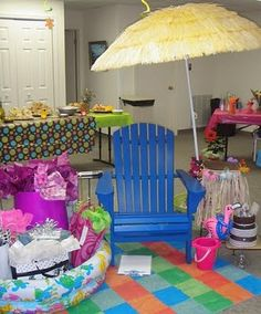 ideas for tropical bridal shower decorations color schemes Luau Bridal Shower, Bridal Shower Gifts For Bride, Bridal Shower Decorations, Shower Party, Hawaiian Baby Showers, Beach Bridal Showers, Tropical Bridal Showers, Beach Shower, Honeymoon Shower