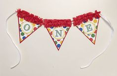 Primary Color ONE High Chair Banner 1st Birthday Boy