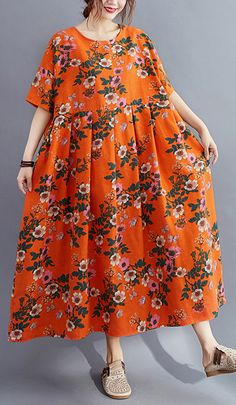 Organic o neck wrinkled summerquilting clothes Catwalk orange floral Traveling Dress Summer Dress Outfits, Casual Summer Dresses, Summer Clothes, Casual Dresses For Women, Modest Fashion, Women's Fashion Dresses, Cocoon Dress, Wedding Dress, Half Sleeve Dresses