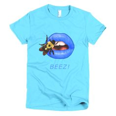 Short sleeve women's t-shirt Blue with Bee on Blue Lips