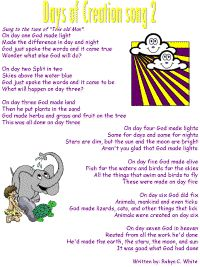 """Days of Creation Song to tune of """"This Old Man"""" - better for Elementary kids, rather complex for preschoolers Childrens Bible Songs, Bible Songs For Kids, Toddler Bible, Preschool Bible, Bible Activities, Bible Games, Children's Bible, Preschool Music, Church Activities"""