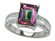 Star K Emerald Cut Rainbow Mystic Topaz Ring Alexandrite Jewelry, Alexandrite Engagement Ring, Green Emerald Ring, Emerald Cut, Pink Sapphire, Blue Topaz, Unusual Engagement Rings, Engagement Wishes, Citrine Ring
