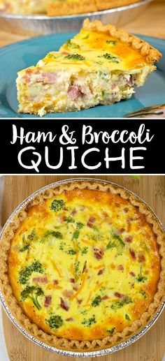 This Ham and Broccoli Quiche Recipe is the perfect recipe to use up leftover ham. Plus quiches are so easy, they require little prep and are just so delicious! with ham leftovers Ham and Broccoli Quiche Recipe Ham And Broccoli Quiche, Ham And Cheese Quiche, Ham Quiche, Veggie Quiche, Quiche Dish, Spinach Quiche, Broccoli Salad, Leftover Ham Recipes, Leftovers Recipes