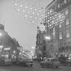 1955. Regent Street snowflake Christmas lights.