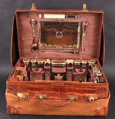 Antique. A Gentleman's Superb Edwardian Crocodile Silver Fitted Travelling Case by J. C. Vickery