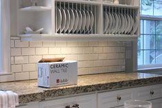 beige marble subway tile backsplash | existing tile yep you read that right we tiled right over tile