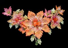 Bloom Necklace by Mikelle Hickman-Romine beaded flower motif