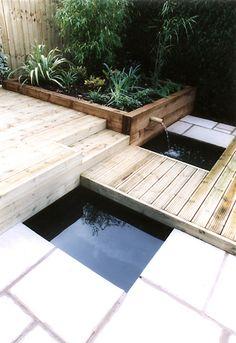 Paving, decking & pond