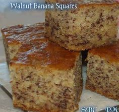 Walnut Banana Squares To SAVE on your timeline so you can find it later, Click on the photo, LIKE and SHARE.   1/2 cup unsalted butter 1 cup Stevia or Truvia or Swerve 2 eggs 3 crushed bananas 2 cups all-purpose flour (gluten free works well too) 1 tsp baking soda 1/4 tsp sea salt 1/2 cup cold black coffee 1 cup chopped walnuts (or nuts of your choice)  Mix all ingredients together, pour into greased 13 x 9 inch pan and bake at 350 degrees for approximately 40 to 45 minutes. Cool on a wire…