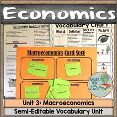 Need a resource that will help you teach your high school economics students the vocabulary you need to know? Check out this partially editable macroeconomics resource! It makes teaching vocabulary terms about macroeconomics easy and engaging, and you can edit parts of it to best fit your needs. It includes a vocabulary card sort, a vocabulary quiz, a crossword puzzle, and more. Click through to grab it! #economics #highschool #macroeconomics #vocabulary Teaching Economics, Teaching Vocabulary, Vocabulary Cards, Vocabulary Activities, Middle School Ela, High School, Social Studies Classroom, Secondary Teacher, School Subjects
