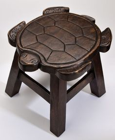 Turtle Hand Carved Wooden Foot Stool in Dark Stain Finish