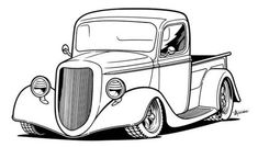 Old School Cars Coloring Pages Car Drawing Pencil, Line Drawing, Pencil Drawings, Drawing Pics, Hot Rod Trucks, Old Trucks, Carros Vintage, Truck Coloring Pages, Old School Cars