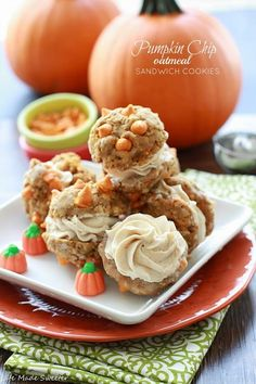 GF Pumpkin Chip Oatmeal Sandwich Cookies by Life Made Sweeter Pumpkin in the Cookies, frosting and chips. and for a great cause #OXOGoodCookies