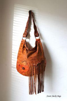 Orange leather large hobo bohemian purse fringed by SweetSmokebags