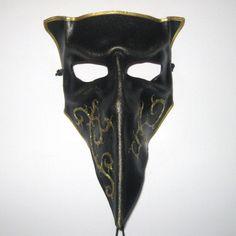 Μάσκα Bauta με τριγωνικό πηγούνι (από το etsy.com) Visit Venice, Skull, Leather, Inspiration, Etsy, Black, Biblical Inspiration, Black People, All Black
