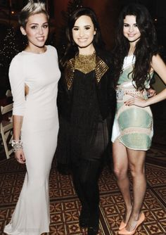 Miley, Demi and Selena. Miley- Hannah Montana, Demi- Sonny with a chance, Selena- Wizards of Waverly place, I miss those days