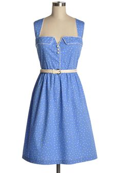 Old Hollywood Dress - light blue frock with small square dots and removable belt. $84.95