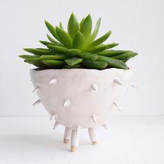 Handmade large white ceramic spiky cactus planter, planter, pottery planter, plant pot, succulent planter, flower pot, ceramic, handmade pot