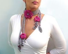 Crochet and Knit Scarf Necklace or Neckwarmer with by ixela, $50.00