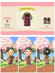 animal crossing qr codes clothes For the cherry blossom contest! Was super inspired by all the sheer robe outfits Id seen as well! Animal Crossing Guide, Animal Crossing Memes, Animal Crossing Qr Codes Clothes, Animal Crossing Fan Art, Animal Memes, Flamingo Illustration, Doodles Kawaii, Amigurumi Giraffe, Memes Gretchen