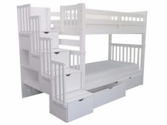 Bedz King Stairway Bunk Bed Tall Twin over Twin in White with 2 Under Bed Drawers $825 at Bunk Bed King | FREE SHIPPING Nationwide to your Home.