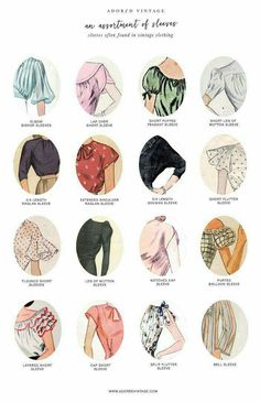 Very handy guide to vintage style sleeves in womens clothing. Vintage fashion s Vintage Outfits clothing Fashion Guide handy Sleeves Style vintage womens Vintage Outfits, Vintage Dresses, Fashion Vintage, Vintage Fashion Sketches, 1950s Fashion, Vintage Blouse, Vintage Jumper, Fashion Terms, Trendy Fashion