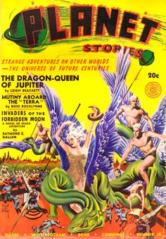 Planet Stories May 1941: The Dragon-Queen of Jupiter, Cover art by Virgil Finlay