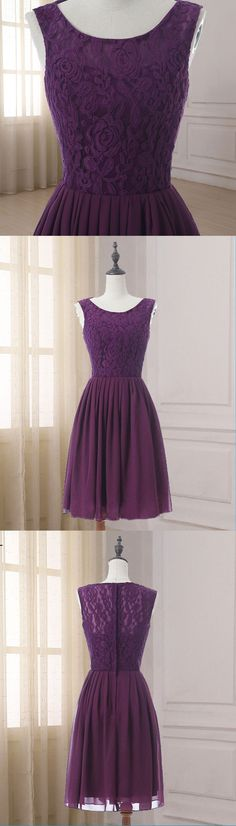 d2fcf9cebc37 Purple lace short scoop neck bridesmaid dress, cheap purple chiffon party  dress for teens