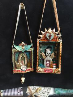 Retro Café Art Gallery: Brand New Artisan Powder Colors + Brave Heart Niche Shrine by Cat Kerr Retro Cafe, Art Gallery, Shadow Box Art, Matchbox Art, Tin Art, Cafe Art, Contemporary Abstract Art, Assemblage Art, Mexican Folk Art