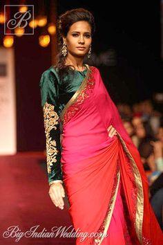 Shyamal & Bhumika designer saree with velvet blouse