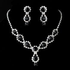 Black Onyx Swarovski Crystal Bridesmaid Necklace Set