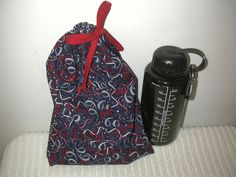 Medium Red, White, and Blue Ribbons Wrapping Bag with Red fabric drawstring by CrazyAuntBettyBags on Etsy
