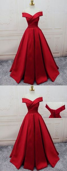 Red Off Shoulder Satin Prom Dress, Red Party Gowns, Red Party Dresses Rot Schulterfrei Satin Abendkleid, rote Party Kleider, rote Party Kleider Prom Dresses For Teens, Prom Dresses 2018, Trendy Dresses, Long Dresses, Ball Dresses, Long Gowns, Dresses Dresses, Formal Gowns, Winter Dresses