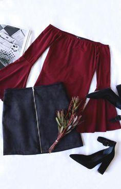 Outfits con combinaciones en burdeos | Belleza