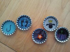 Here are the bottle caps that we(BYBC and EA) made today! Day one is a fishing hook (fishers of men) day two is feet on water (Peter walks on water) day three is a rock and star (peter is the rock-star) Day 4 is shawn the sheep with a crown (Jesus restores Peter - feed my sheep) Day 5 is a cross with many colors(Gods forgiveness is for everyone)