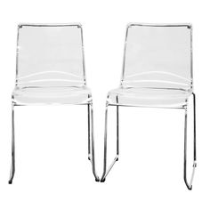 Baxton Studio Lino Transparent Clear Acrylic Dining Chair - Set of 2