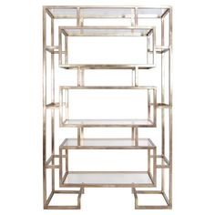 Michel Hollywood Regency Silver Geometric Display Case | Kathy Kuo Home