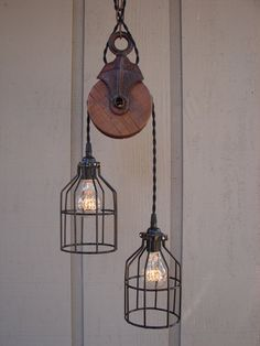 Upcycled Vintage Farm Pulley Pendant Light